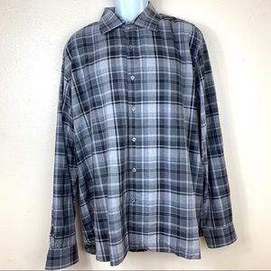 Hickey freeman plaid shirt black size XXL